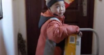 young delivery boy in china
