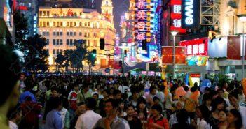 crowded nanjing road shanghai