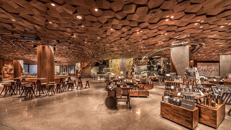 interior of starbucks roastery in shanghai