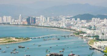 arial view of coast on hainan island
