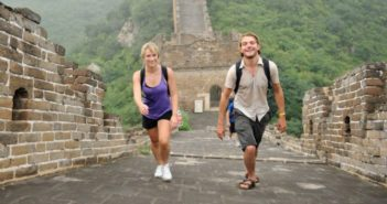 tourists at the great wall