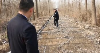 police measuring a road in china