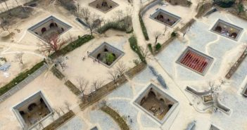 Mosaic of Yaodong Cave Dwellings in China from Sky