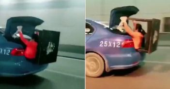 two images of wife holding table in taxi boot