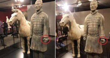 two images showing a terracotta warrior missing a thumb