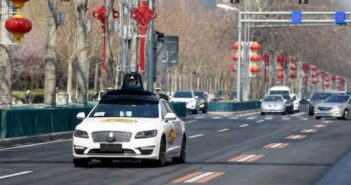 front view of self-driving car on road in beijing