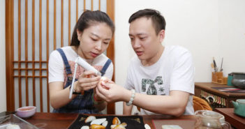 couple working with precious stones at home