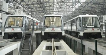 front view of three driverless metro trains in shanghai