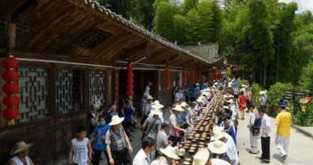 village banquet outside in china