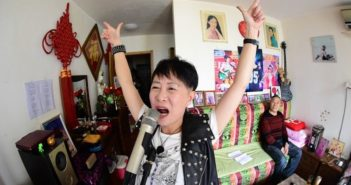 old lady sining at home in china