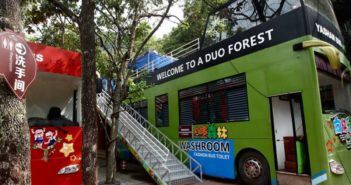 themed bathroom bus at scenic site in china