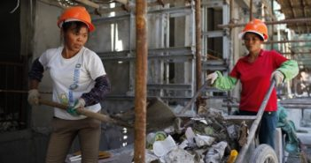 two female workers at construction site in china