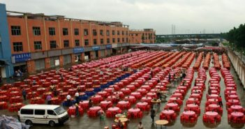 tables set out for wedding banquet in china