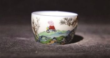 peppa pig on a porcelain cup