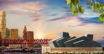 chongqing landmark constructed with food ingredients