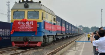 front view of freight train leaving china for belarus