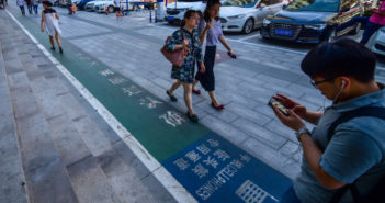 pedestrian lane for phone users in xi'an