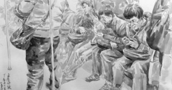 sketch of passengers on shanghai metro
