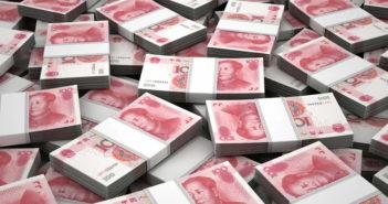 stacks of rmb bank notes