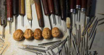 fruit pit carving tools and art work