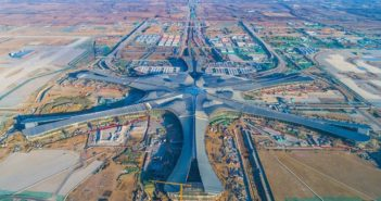 arial view of construction of beijing's new airport
