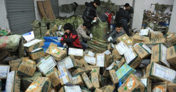 couriers sorting parcels in china