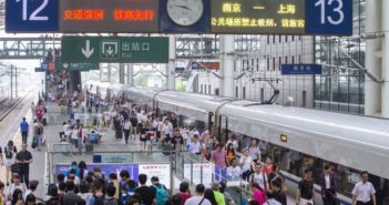 passengers at railway station in china