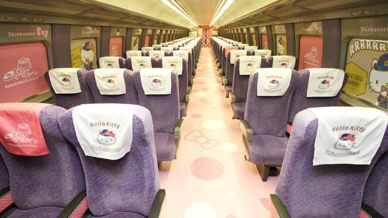 seats in carriage of hello kitty railway train in japan