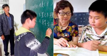married couple teachers teaching student at school in china