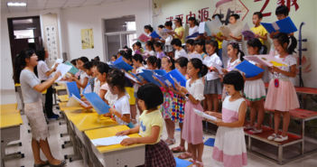 children attending class in china