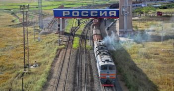 front view of freight train entering russia from china