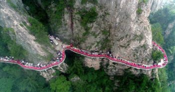 arial view of buffet on cliff in china