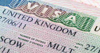 close up of UK visa
