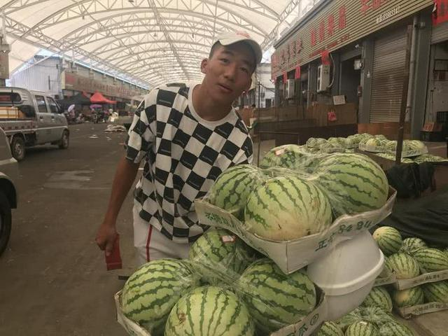 man selling watermelons in china