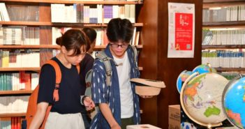 two people in bookstore in china