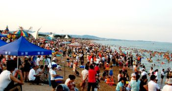 busy beach in china