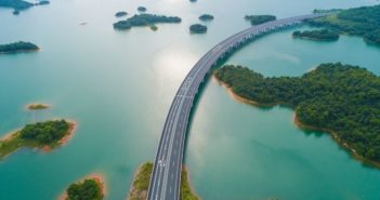 arial view of island motorway in china