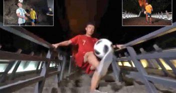three images of footballers juggling on steps in zhangjiajie