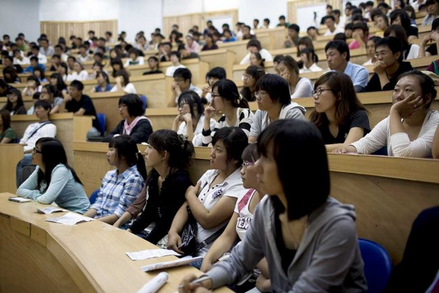 university students in a lecture in china
