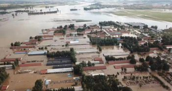 arial view of flooding in shouguang