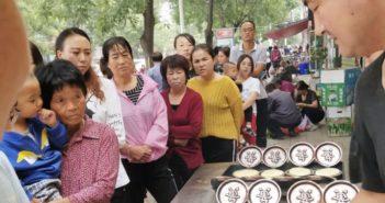 queue of customers at pancake shop in gansu province