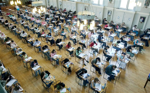 top view of a level exam in uk