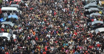 huge crowd of people in china