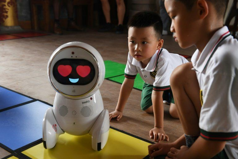 robot in class at kindergarten in china