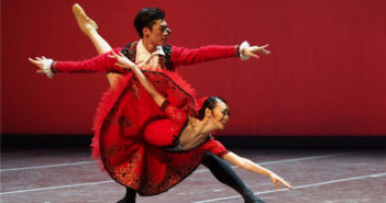 two ballet dancers performing on stage in shanghai