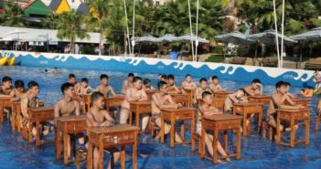 students attending class at water park i chongqing