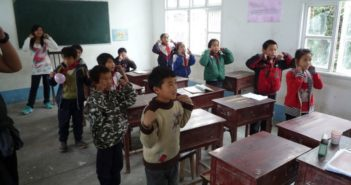 children learning in classroom in china
