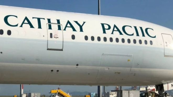 incorrect spelling of Cathay Pacific on plane