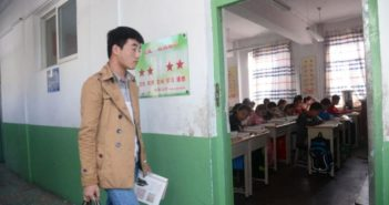 teacher entering classroom in china