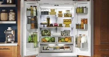 open fridge door in kitchen